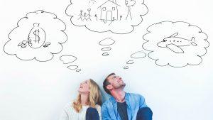 Couple thinking about money