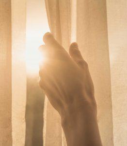 Sunlight peeking through the curtains